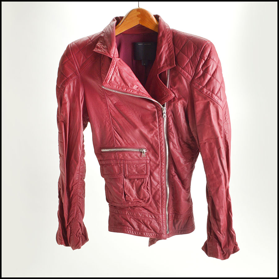 RDC8532 Marc Jacobs Red Leather Open Zipper Jacket front