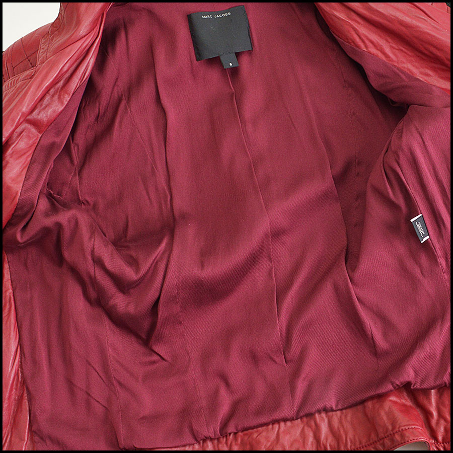 RDC8532 Marc Jacobs Red Leather Open Zipper Jacket inside