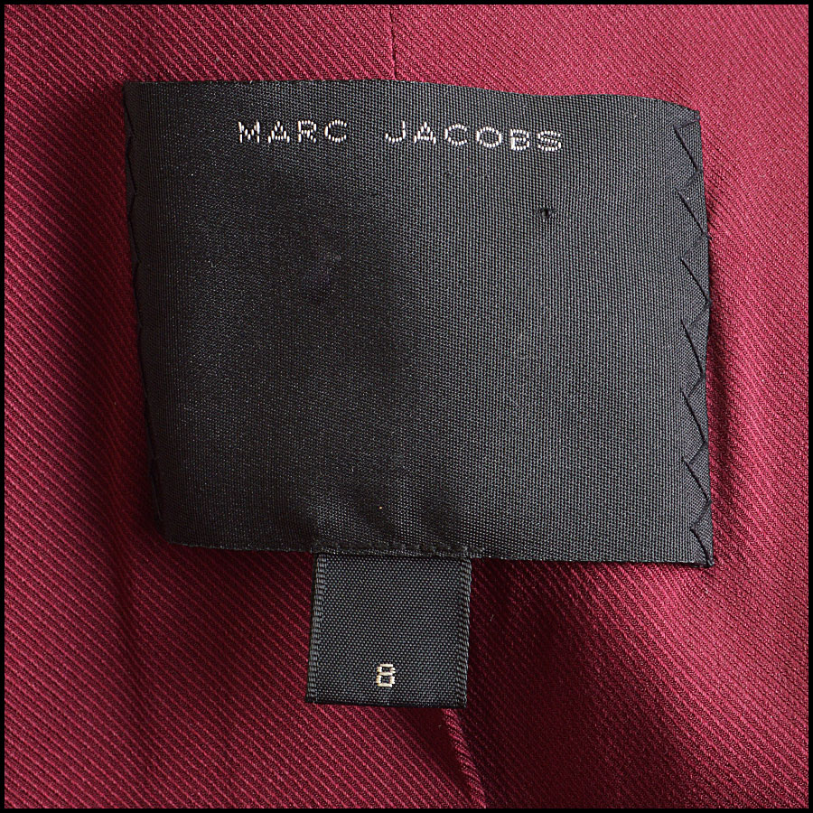 RDC8532 Marc Jacobs Red Leather Open Zipper Jacket tag 3