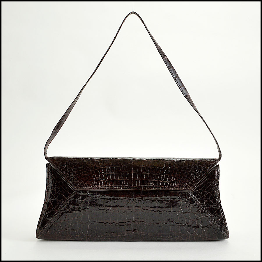 RDC8165 Nancy Gonzalez Dark Brown Crocodile Clutch Handbag