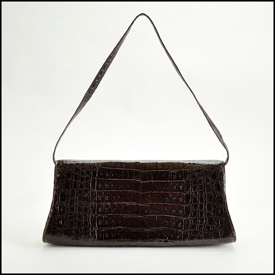 RDC8165 Nancy Gonzalez Dark Brown Crocodile Clutch Handbag back