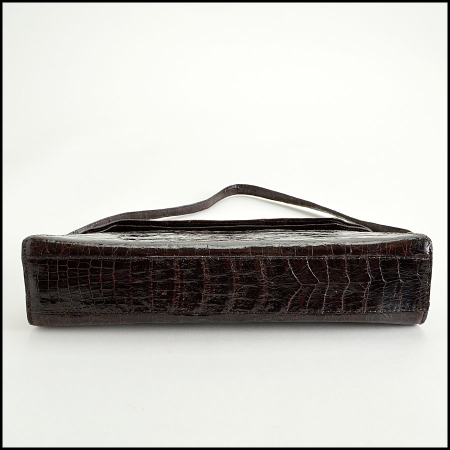 RDC8165 Nancy Gonzalez Dark Brown Crocodile Clutch Handbag bottom