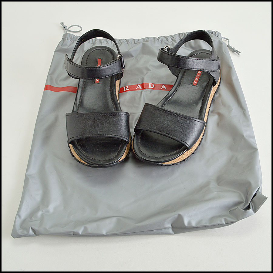 RDC8304 Prada Sport Black and Cork Sandals