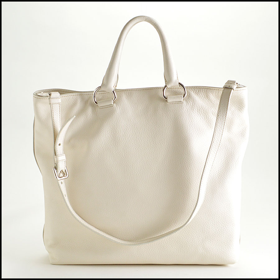 RDC8147 Prada White Vitello Daino Tote back