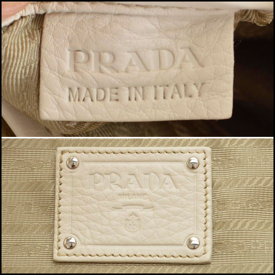 RDC8147 Prada White Vitello Daino Tote tag one