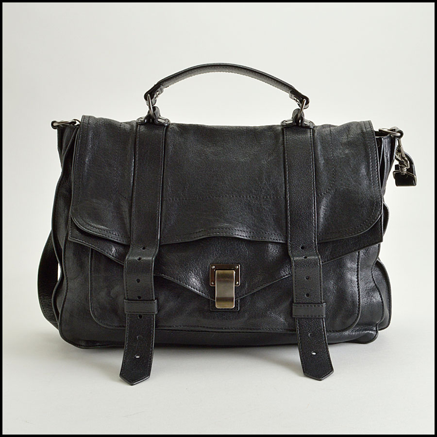 RDC8258 Proenza Schouler Black Lux Leather PS1 Satchel