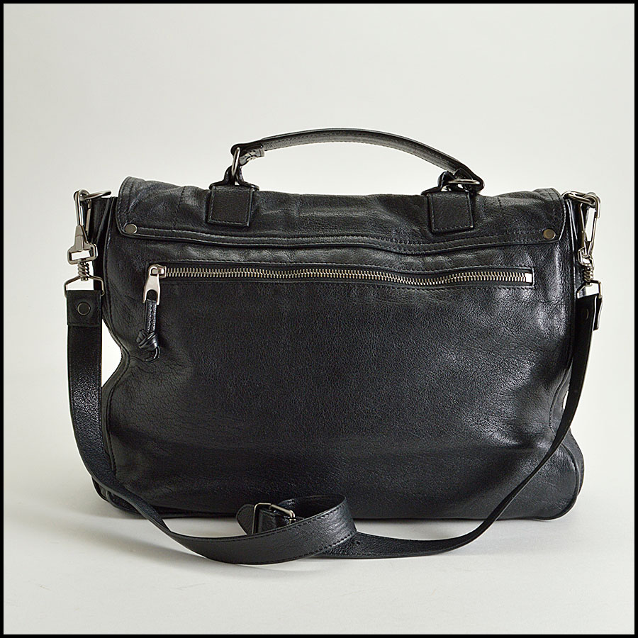 RDC8258 Proenza Schouler Black Lux Leather PS1 Satchel back