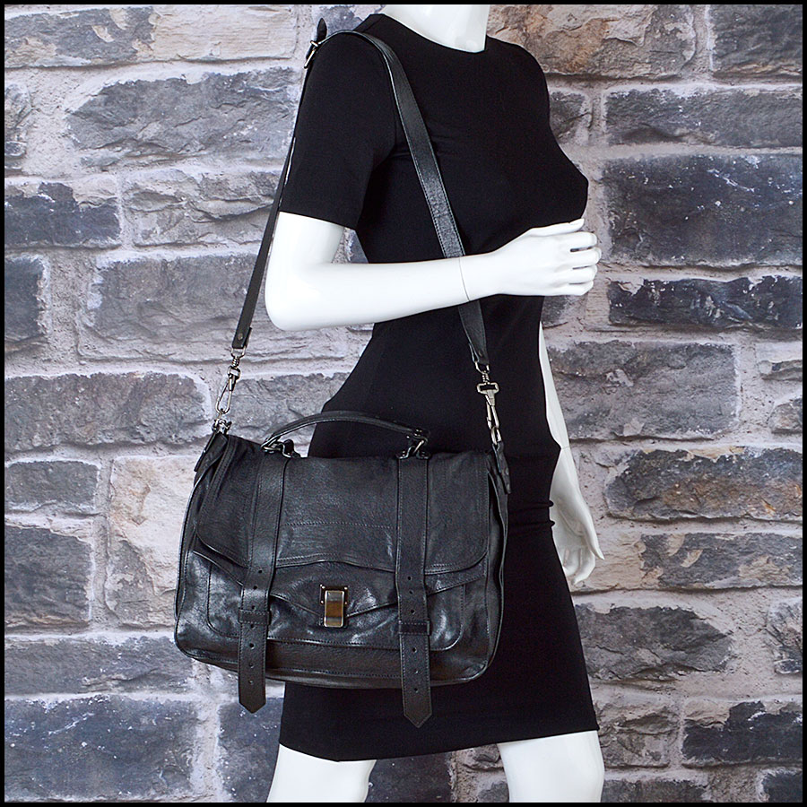 RDC8258 Proenza Schouler Black Lux Leather PS1 Satchel model