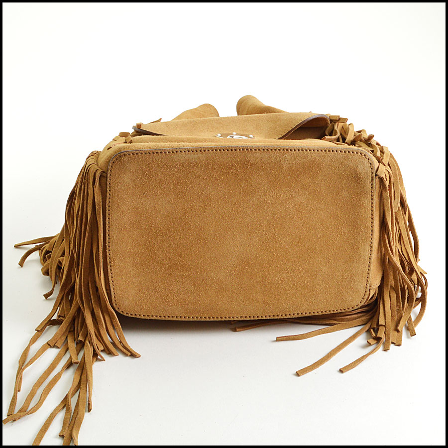 RDC8537 Ralph Lauren suede Ricky fringe bag bottom