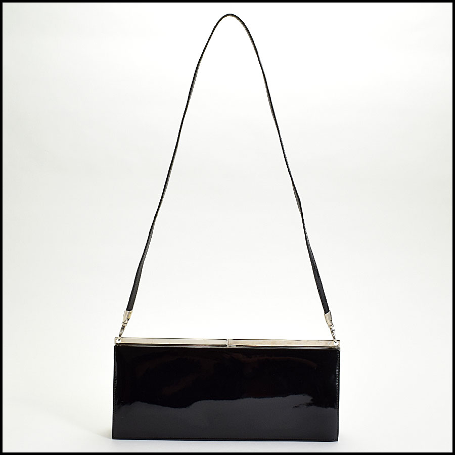 RDC9698 Stuart Weitzman Black Patent Leather Evening Clutch