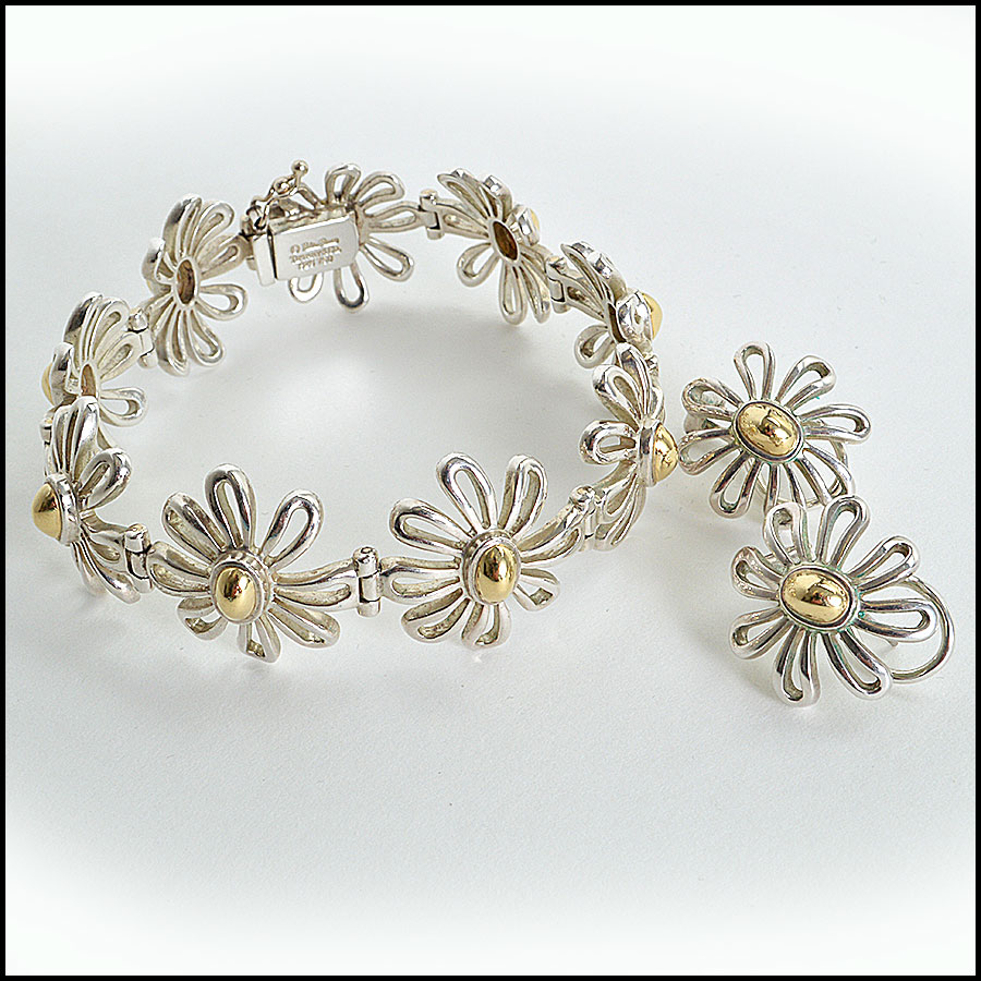 Tiffany and Co Silver Daisy Earrings Bracelet pic
