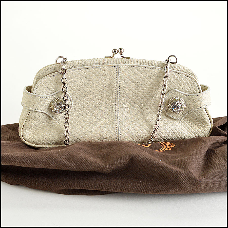RDC7901 Tods Diamond White Leather Clutch