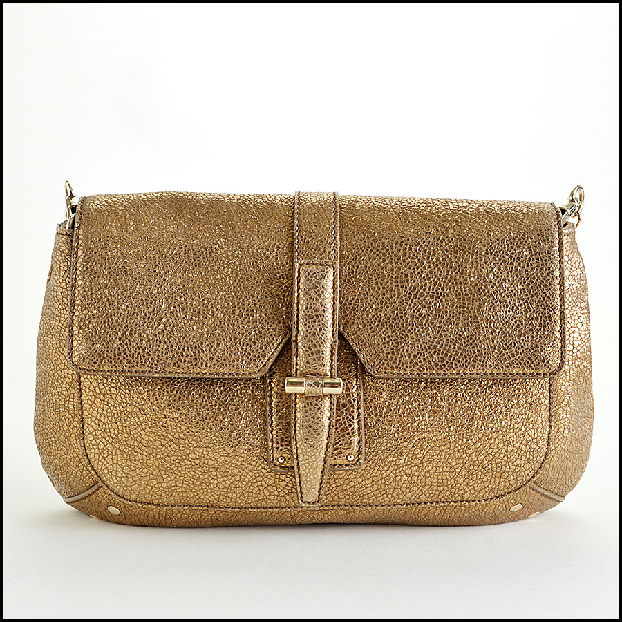 YSL Gold Leather Emma Chan Shoulder Bag