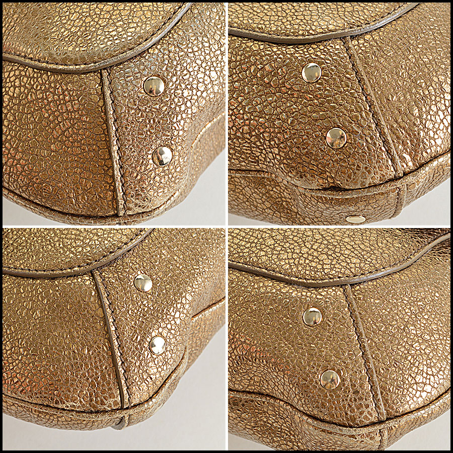 YSL Gold Leather Emma Chan Shoulder Bag Corners