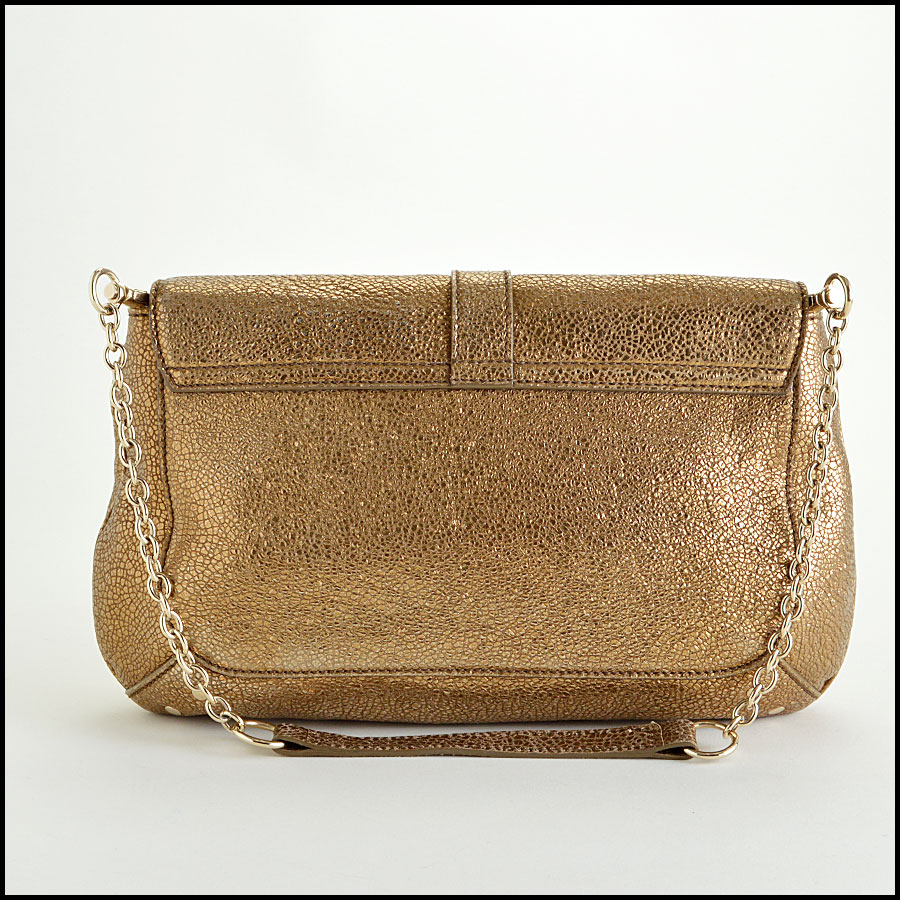 YSL Gold Leather Emma Chan Shoulder Bag Back