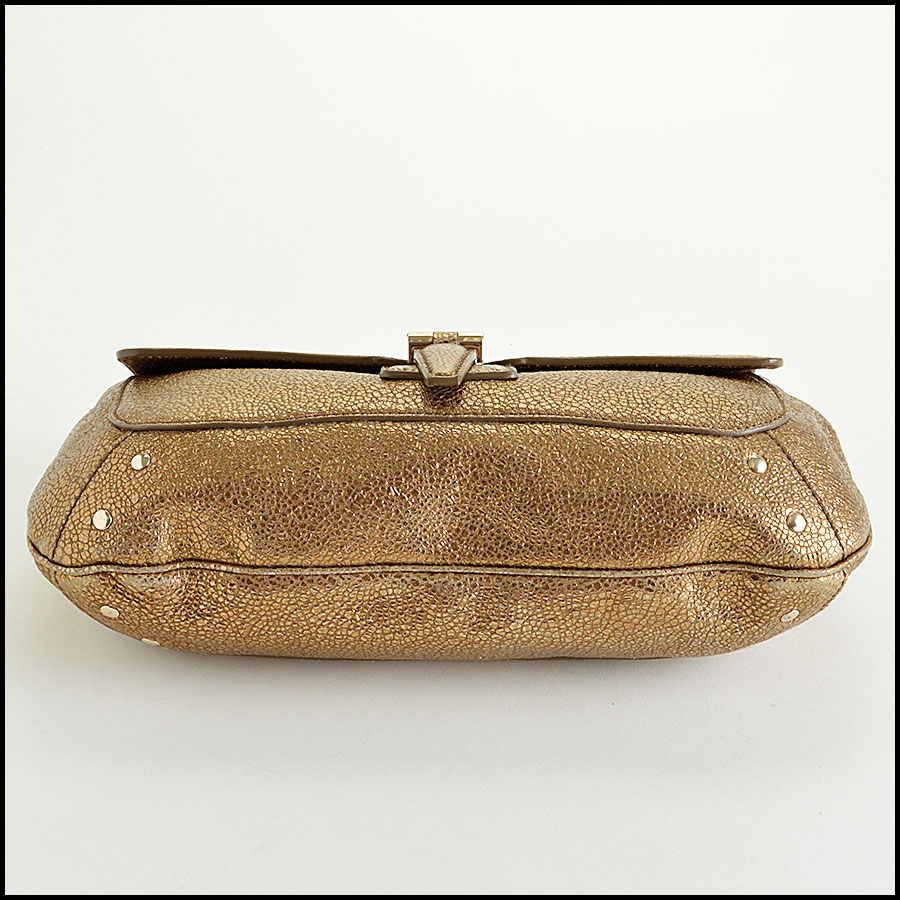 YSL Gold Leather Emma Chan Shoulder Bag Bottom
