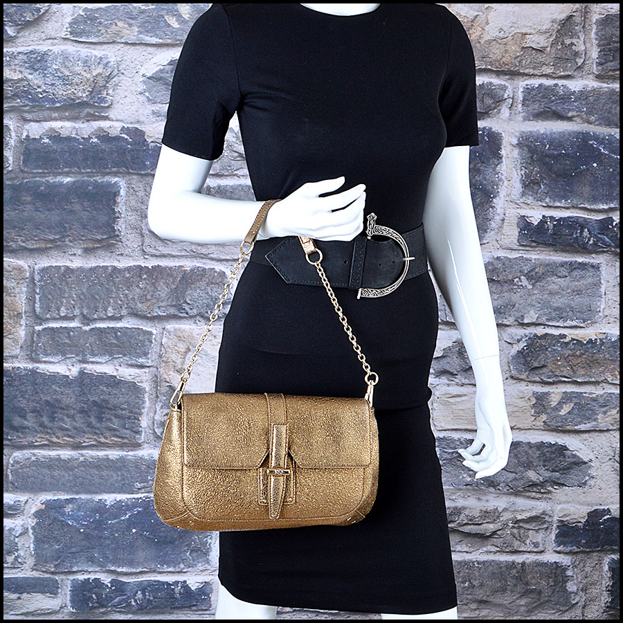 YSL Gold Leather Emma Chan Shoulder Bag Mannequin