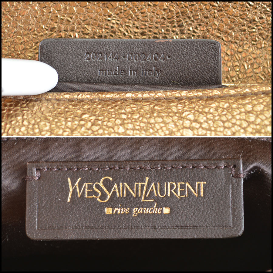 YSL Gold Leather Emma Chan Shoulder Bag Tag