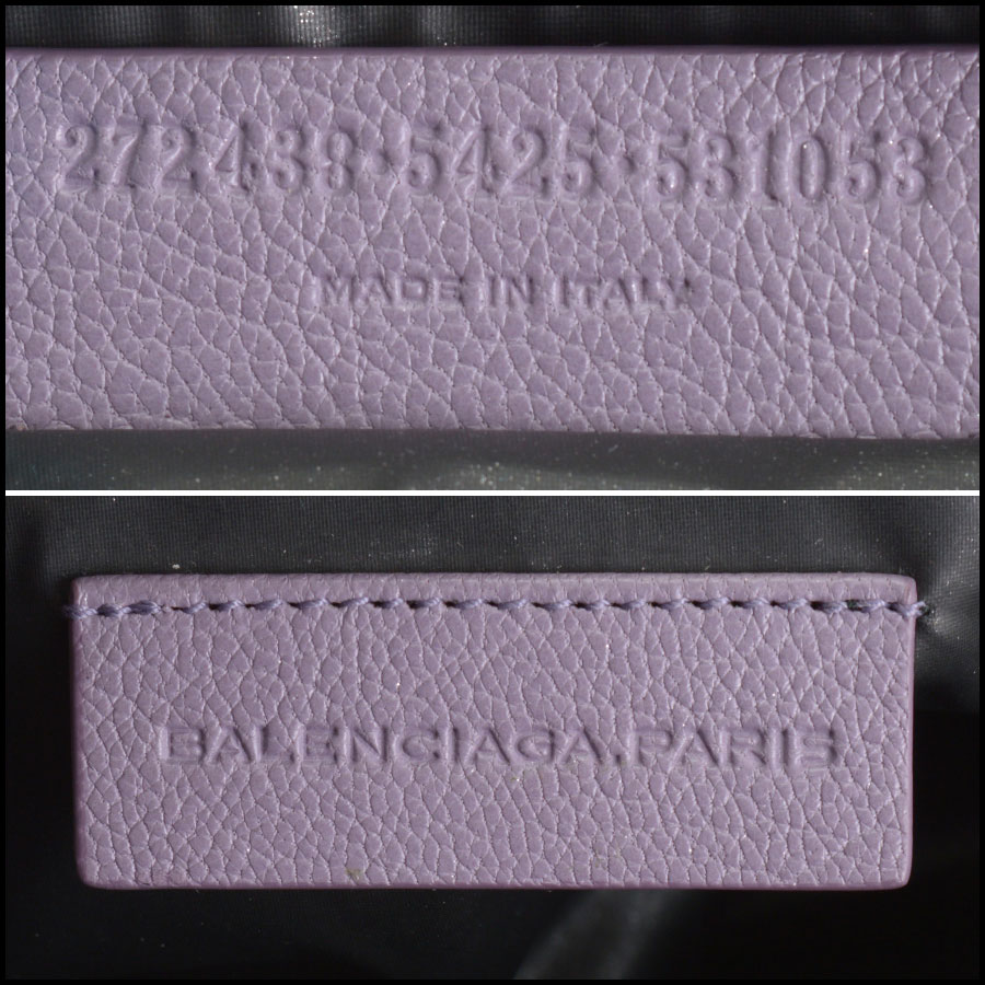 RDC10661 Balenciaga Glycine Lilac Silver Giant Pencil Case tag
