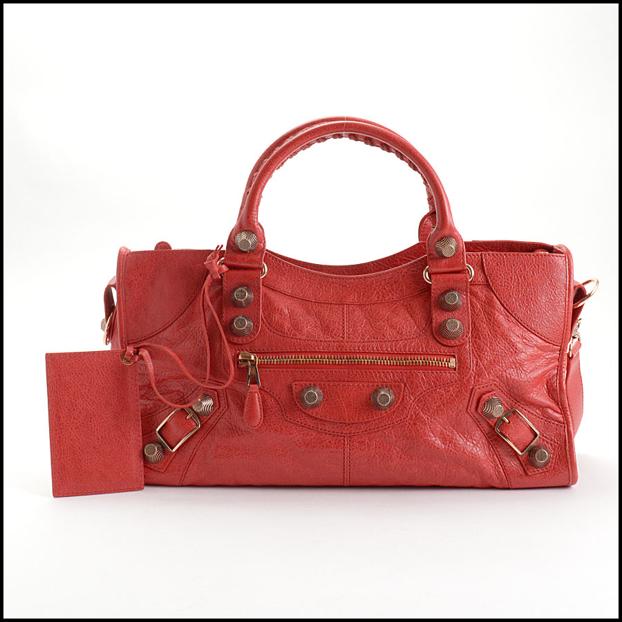 RDC10656 Balenciaga Coquelicot Red Rose Gold Giant Part Time