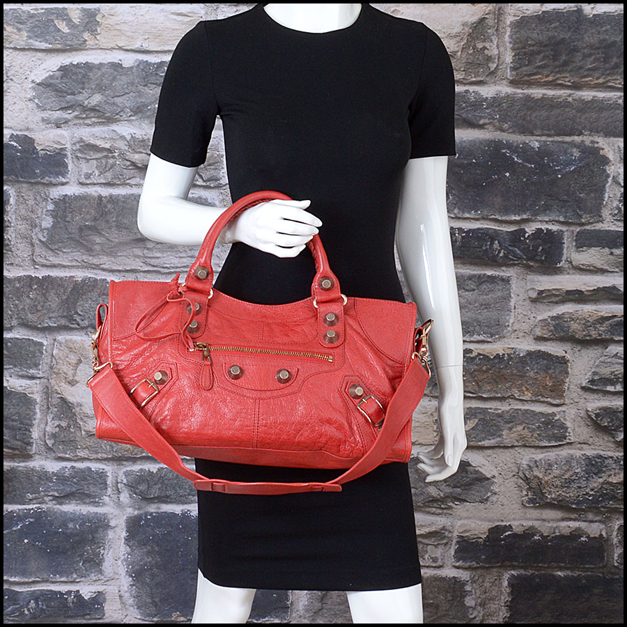 RDC10656 Balenciaga Coquelicot Red Rose Gold Giant Part Time model