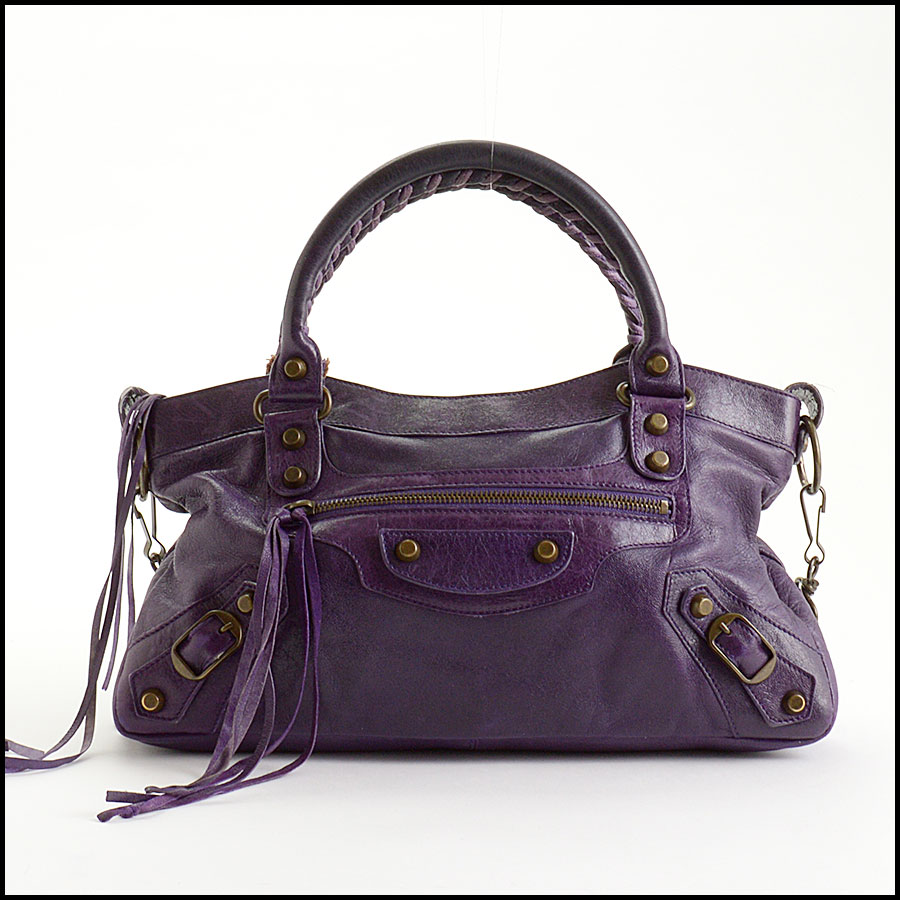 RDC10975 Balenciaga Eggplant Purple Chevre Leather First Bag