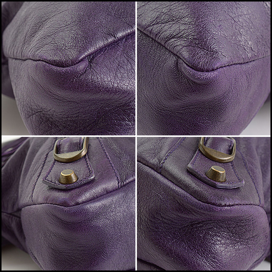 RDC10975 Balenciaga Eggplant Purple Chevre Leather First Bag corners