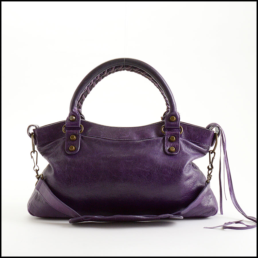 RDC10975 Balenciaga Eggplant Purple Chevre Leather First Bag back