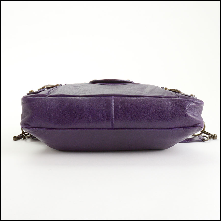 RDC10975 Balenciaga Eggplant Purple Chevre Leather First Bag bottom