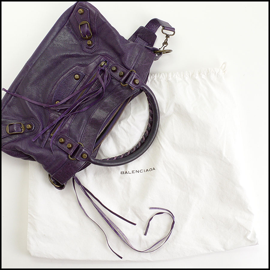 RDC10975 Balenciaga Eggplant Purple Chevre Leather First Bag includes