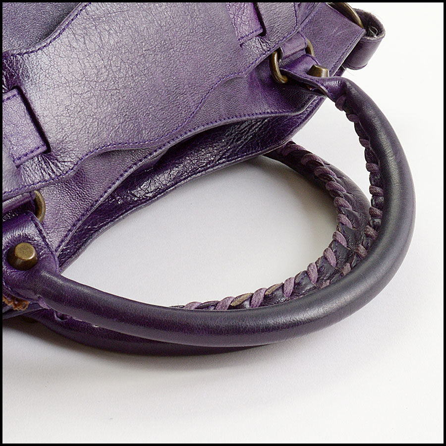 RDC10975 Balenciaga Eggplant Purple Chevre Leather First Bag handle