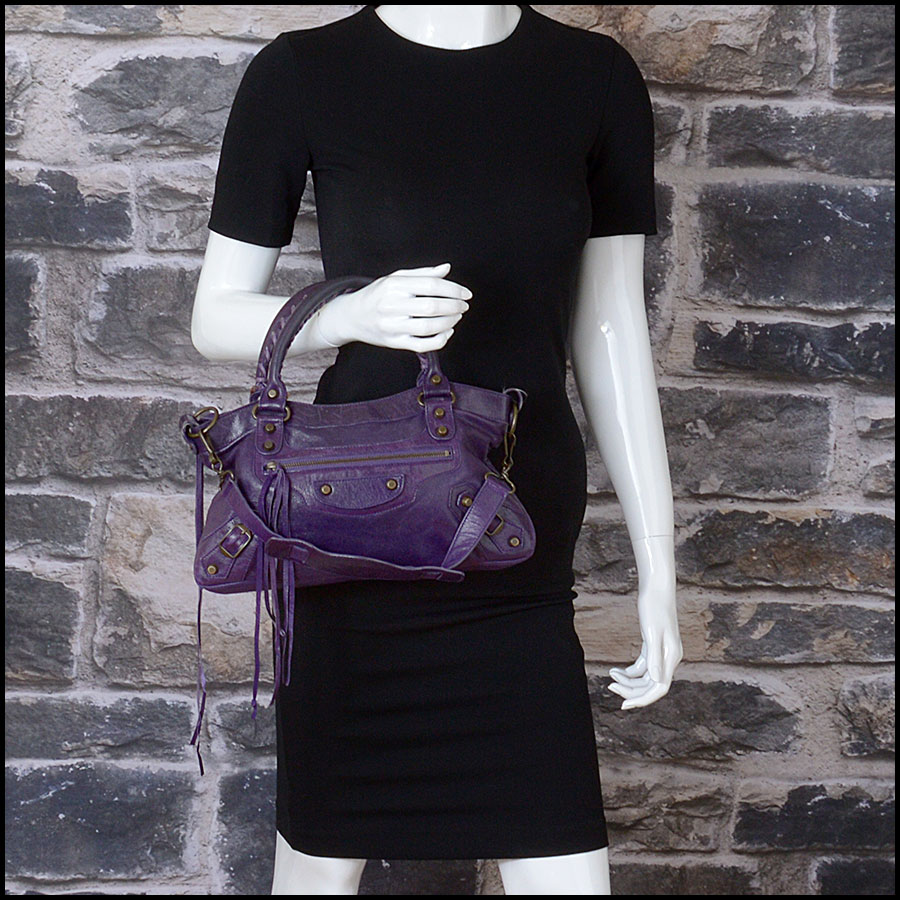 RDC10975 Balenciaga Eggplant Purple Chevre Leather First Bag model