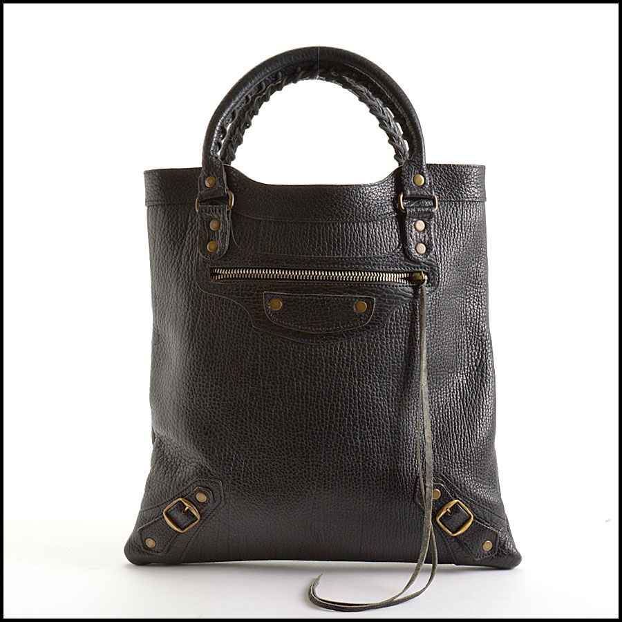 RDC10992 Balenciaga Black Caribou Leather Tote Bag