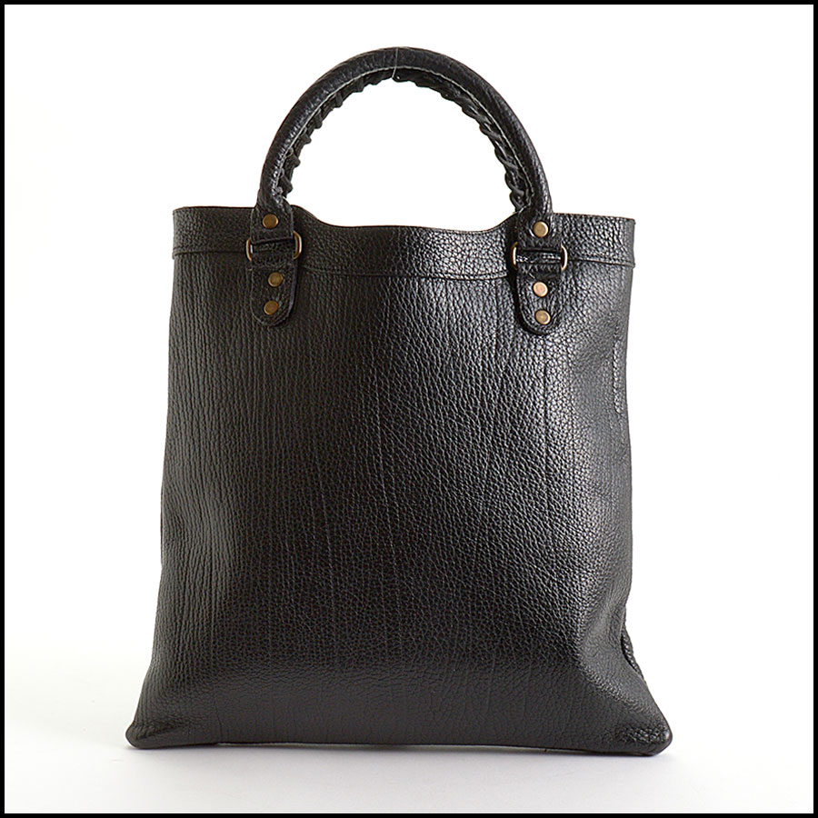 RDC10992 Balenciaga Black Caribou Leather Tote Bag back