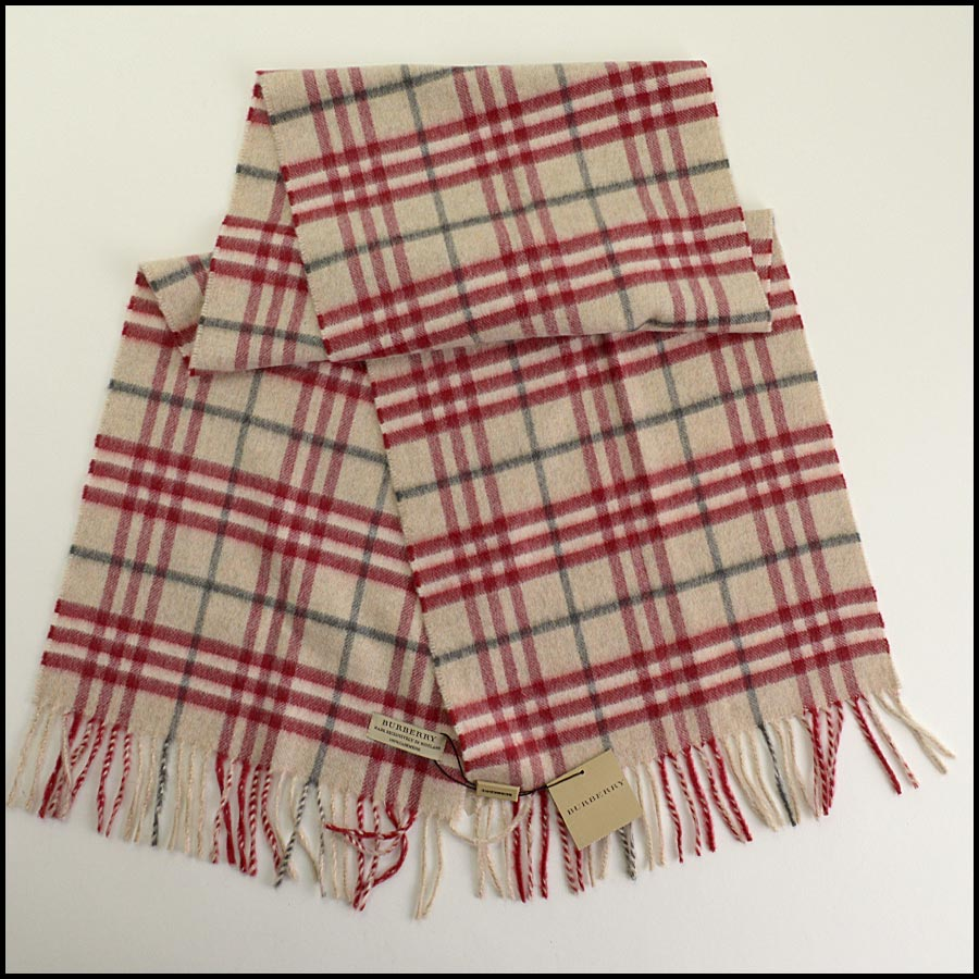 RDC11264 Burberry Red/Beige Cashmere Scarf