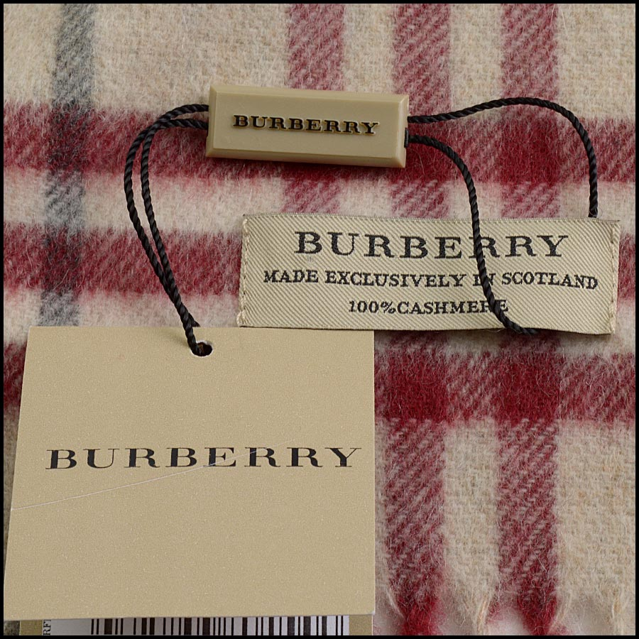 RDC11264 Burberry Red/Beige Cashmere Scarf tag