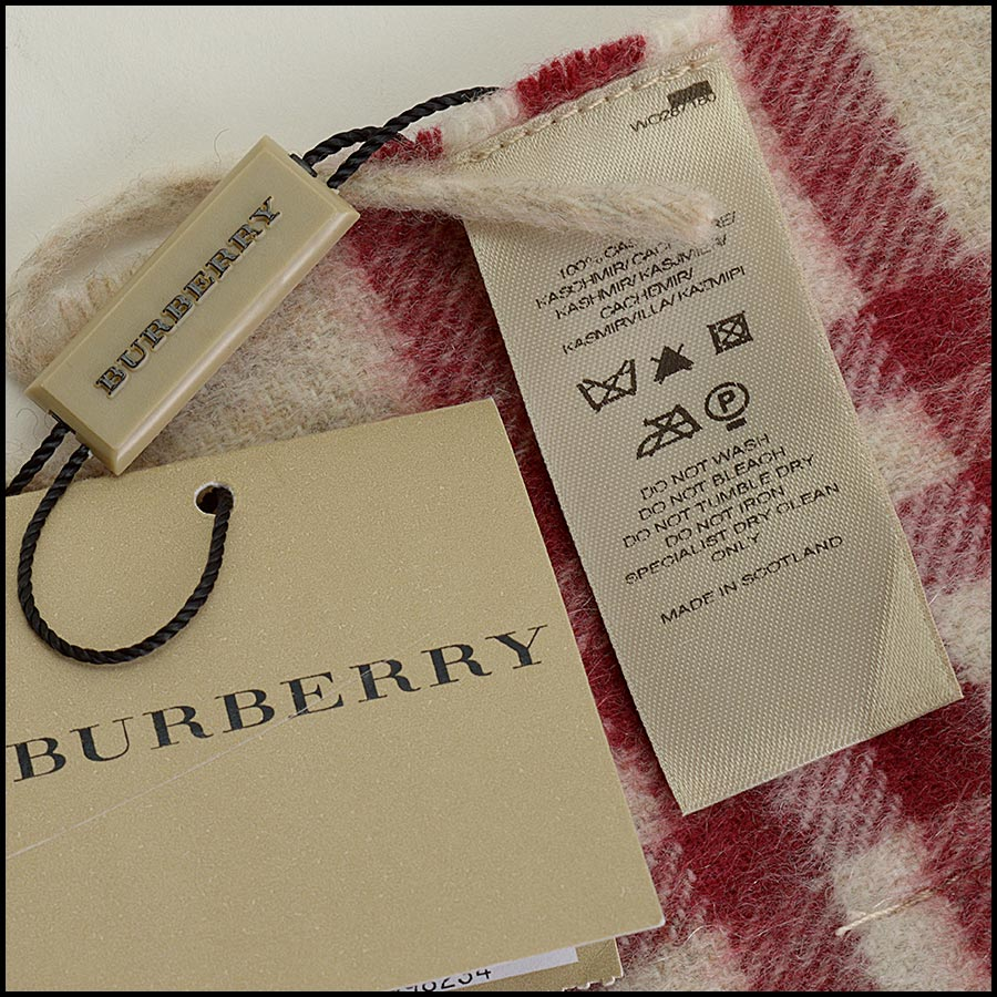 RDC11264 Burberry Red/Beige Cashmere Scarf tag 1