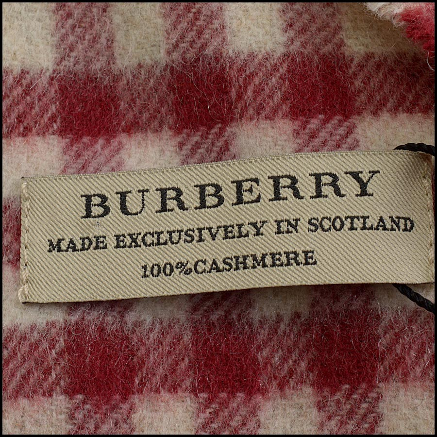 RDC11264 Burberry Red/Beige Cashmere Scarf tag 2
