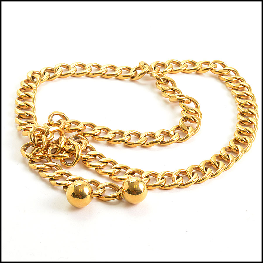 RDC10685 Chanel Gold Chain Belt w/Ball Charms back