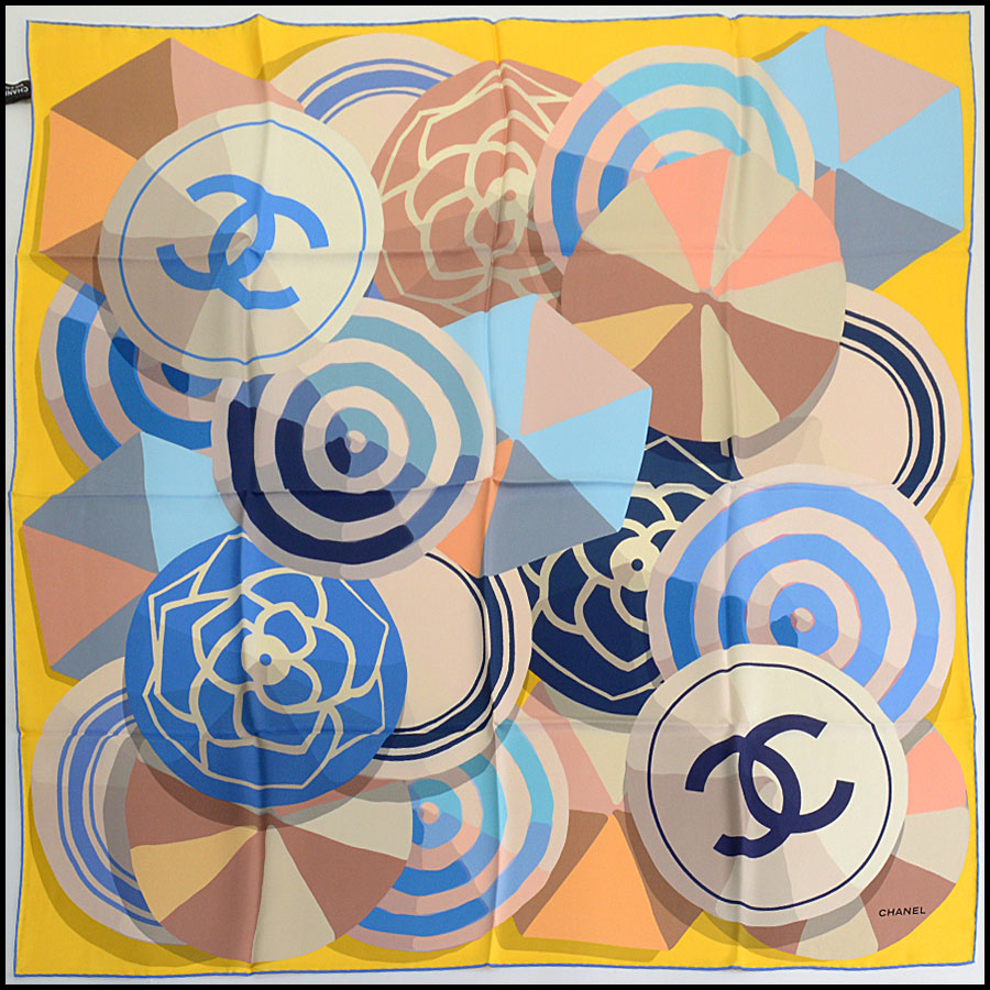 RDC11071 Chanel Blue/Yellow/Taupe Beachball/Umbrella Silk Scarf