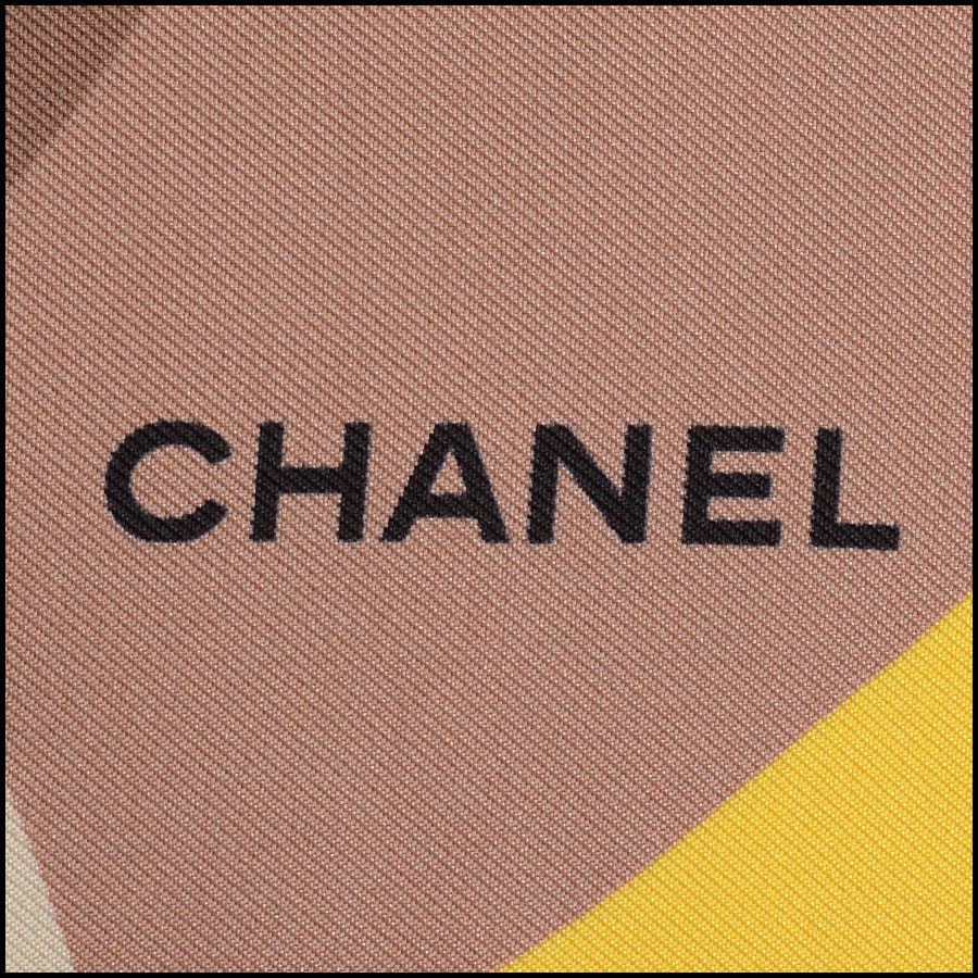 RDC11071 Chanel Blue/Yellow/Taupe Beachball/Umbrella Silk Scarf close up