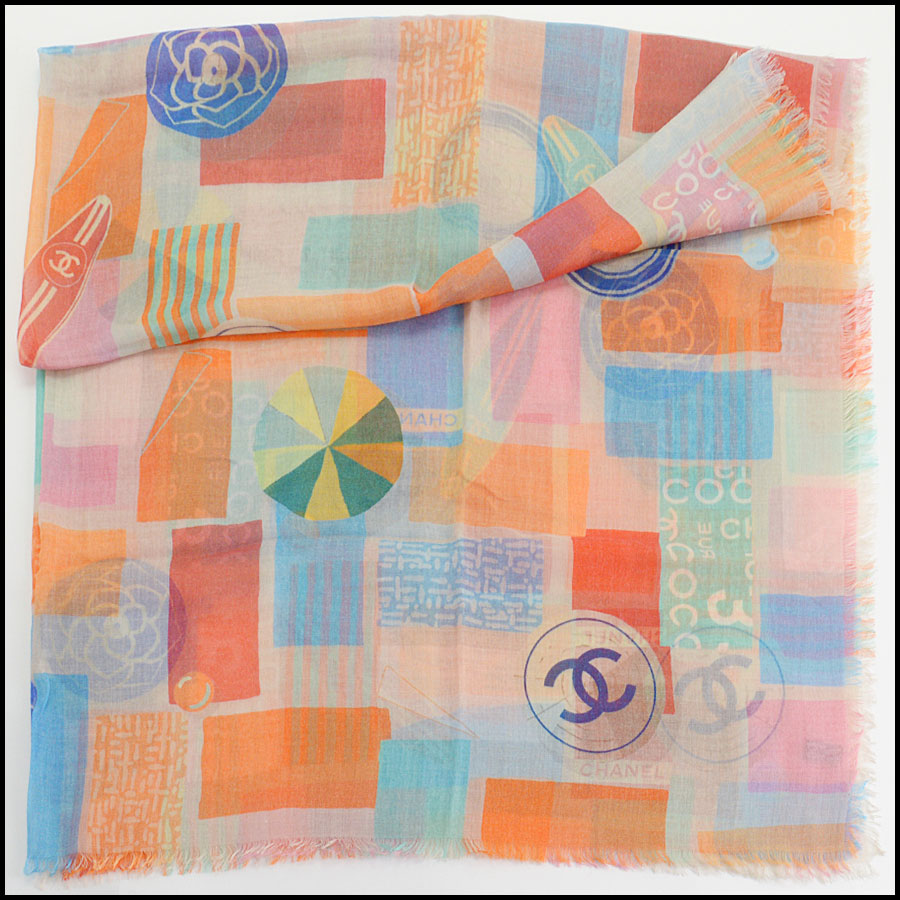 RDC11106 Chanel Orange Multicolor Beach Cashmere Silk Scarf Wrap