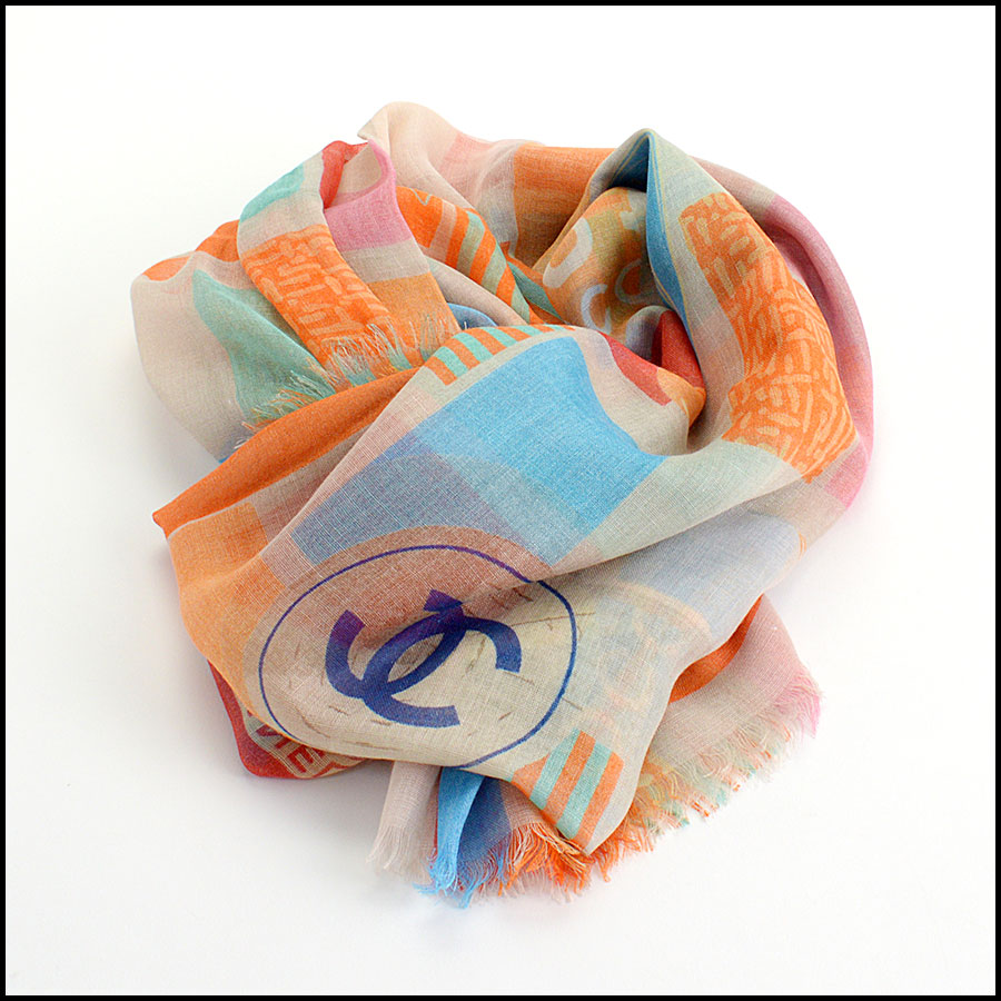RDC11106 Chanel Orange Multicolor Beach Cashmere Silk Scarf Wrap fold