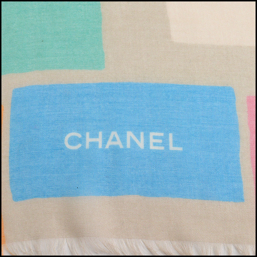 RDC11106 Chanel Orange Multicolor Beach Cashmere Silk Scarf Wrap logo