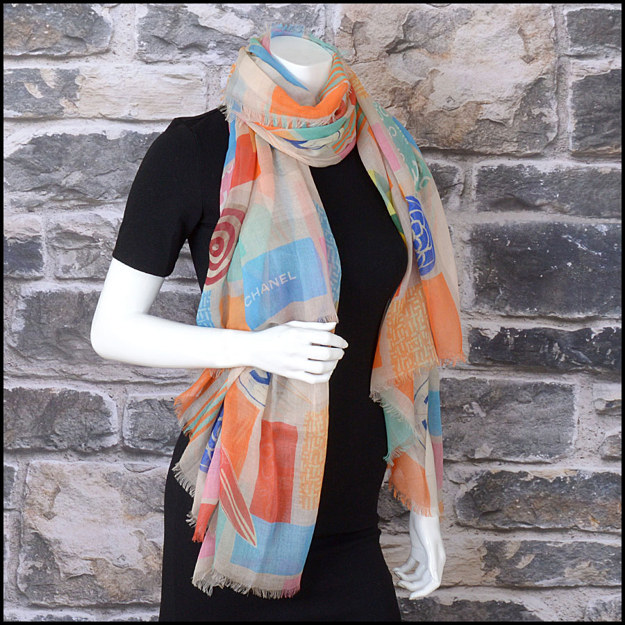 RDC11106 Chanel Orange Multicolor Beach Cashmere Silk Scarf Wrap model