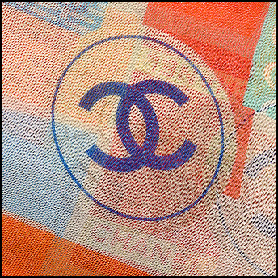 RDC11106 Chanel Orange Multicolor Beach Cashmere Silk Scarf Wrap signature