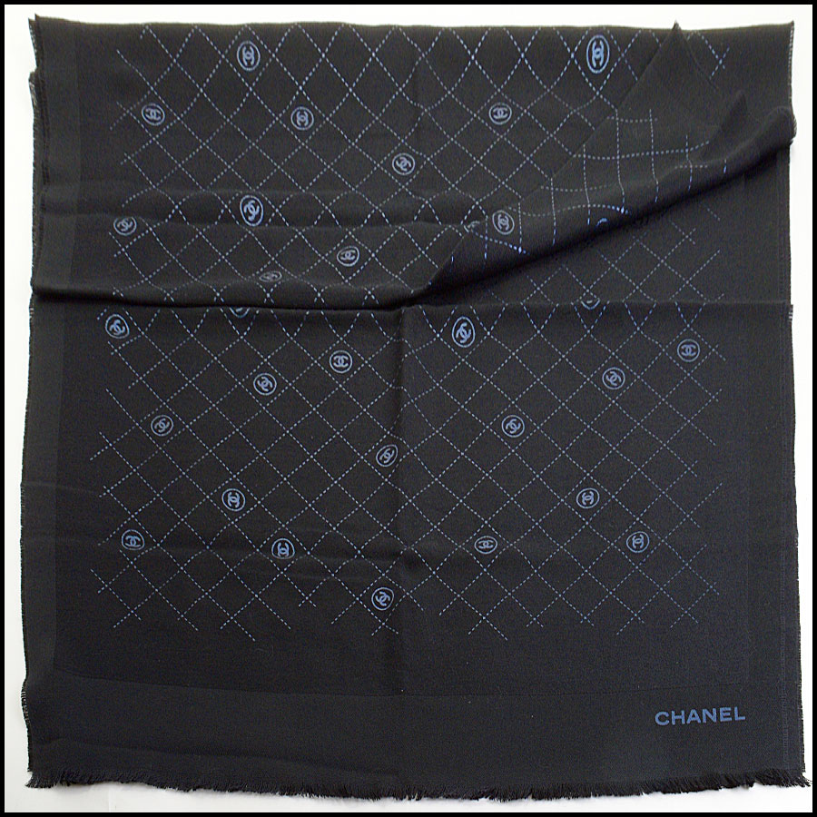 RDC11094 Chanel Black Metallic Stamped Logo Wool Scarf Wrap