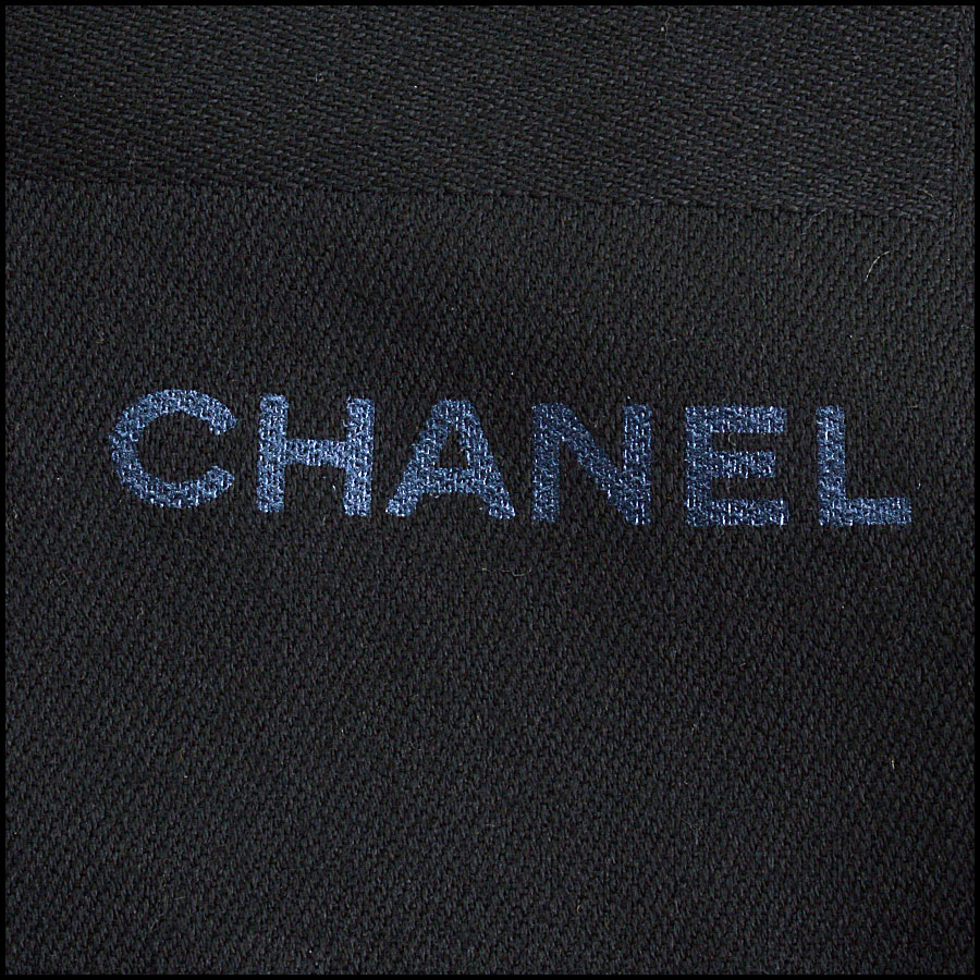 RDC11094 Chanel Black Metallic Stamped Logo Wool Scarf Wrap close up
