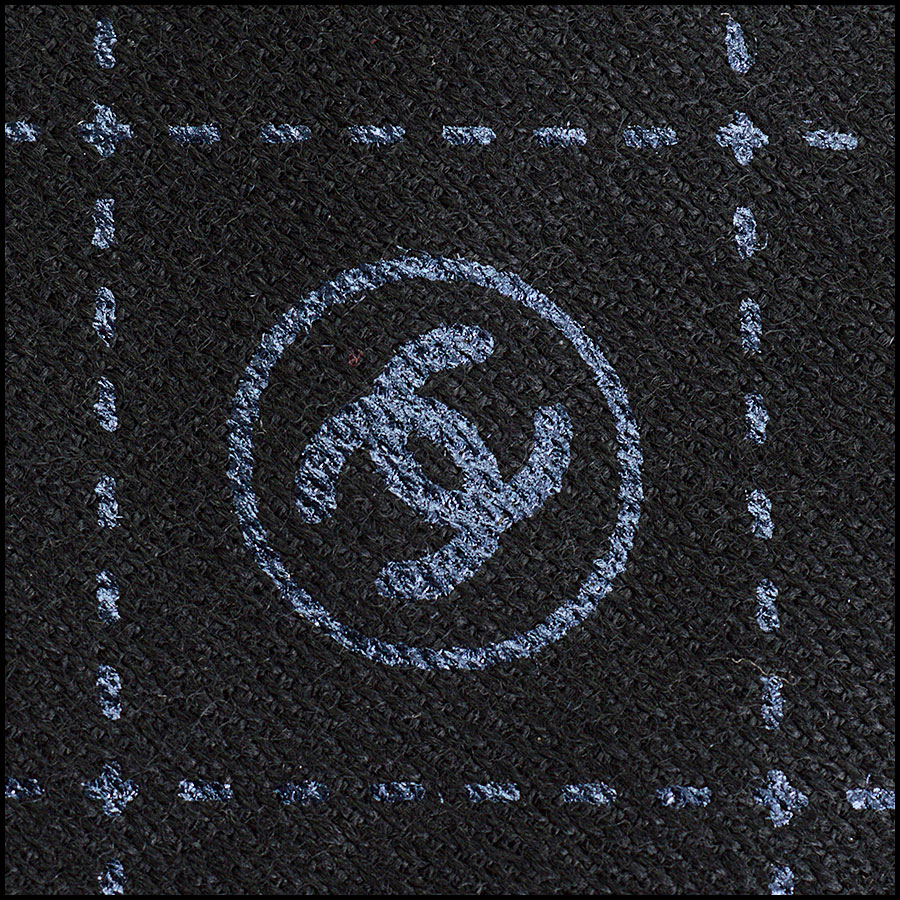 RDC11094 Chanel Black Metallic Stamped Logo Wool Scarf Wrap logo