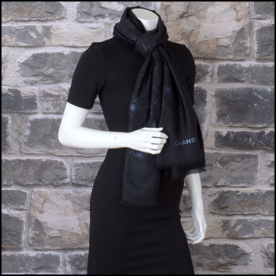 RDC11094 Chanel Black Metallic Stamped Logo Wool Scarf Wrap model